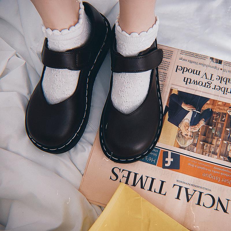 幼稚商店JK复古平底女鞋玛丽珍单鞋低帮魔术贴学院风lolita小皮鞋