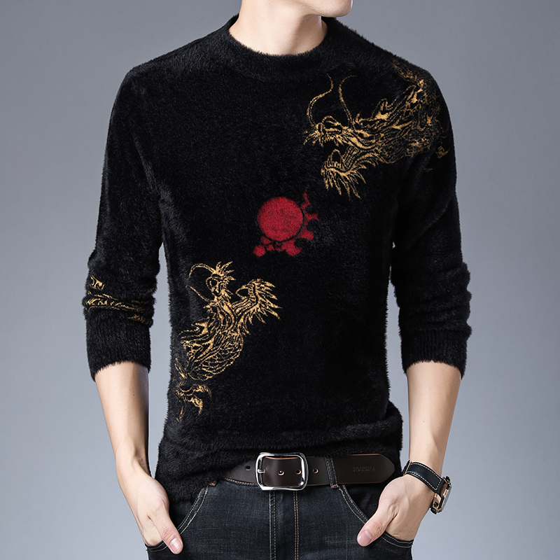 Winter thickened mink cashmere sweater mens warm wool sweater jacquard cashmere round neck
