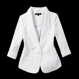 修身 休闲纯白色大码 外套女短款 2020年春季 蕾丝小西装 薄款 西服上衣
