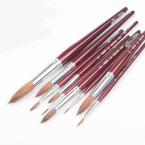 Australian Neef imitation mink Wool Watercolor pen 244 solid wood short rod round Head special water powder watercolor pigment brush imitation squirrel hair Round head mop pen shop color hook pen propylene Painting oil brush