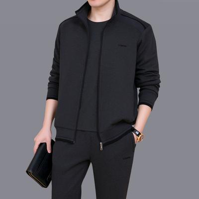 爸爸春秋装套装三件套中老年男衣服运动套装中年大码休闲运动服男