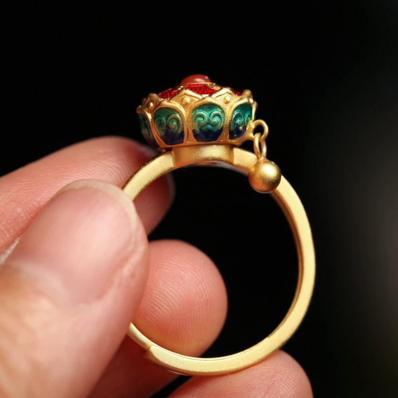 转经筒六字真言纯银饰品手工民族风珐琅彩烧蓝佛教女款转运戒指