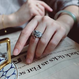 老饕南方南方純銀飾品老銀匠手工情侶款復古風民族饕餮紋開口戒指