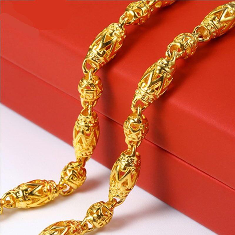 香港正品黄金项链男士镂空含999足金橄榄形3D金项链粗款时尚新款