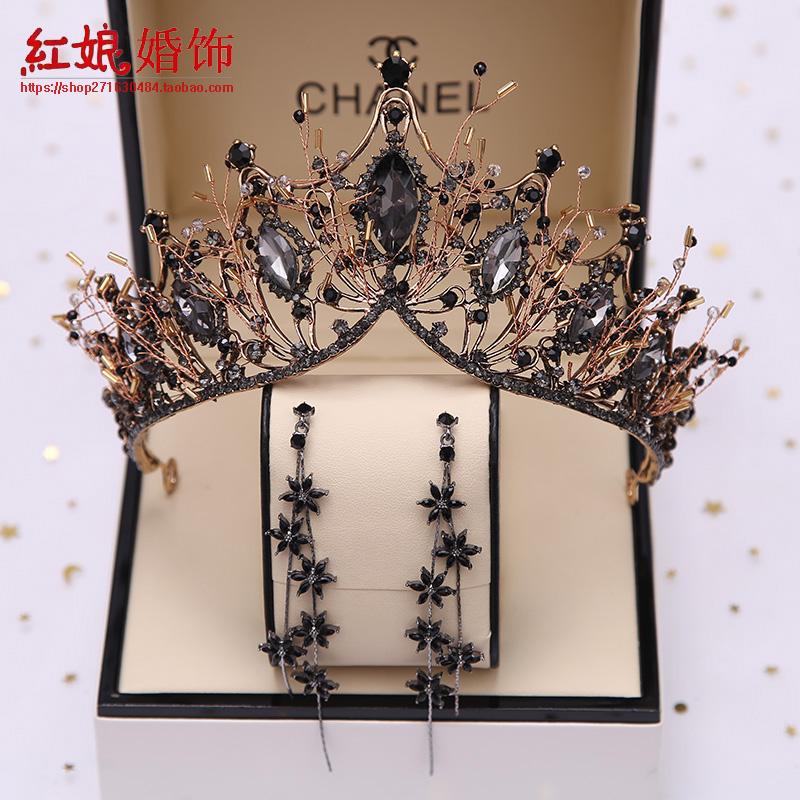 12-03新券巴洛克大气新娘皇冠水晶黑色岁头冠