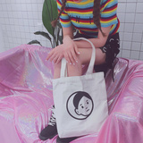 South Korea ulzzang canvas bag shoulder woman small fresh simple simple wild casual ins green shopping bag student tide