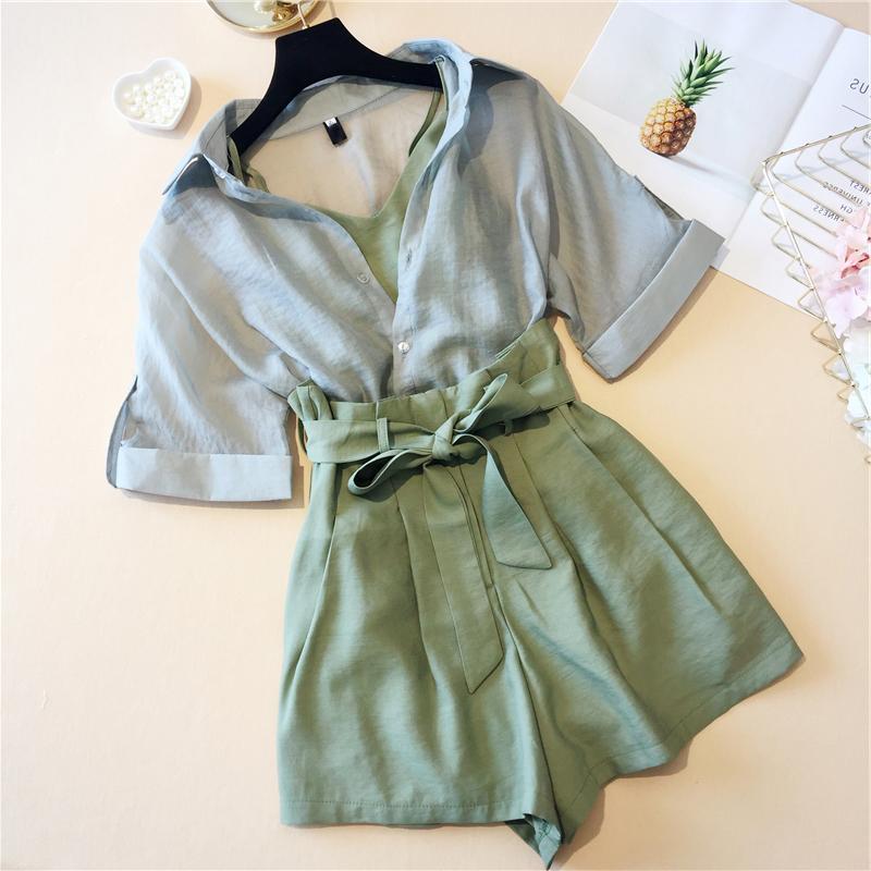 2018夏季新款时尚晚晚风网红小清新森女系心机女洋气短裤两件套装