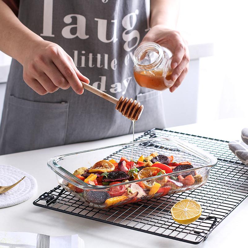 热销24件限时秒杀钢化耐热玻璃双耳烤盘焗饭盘碗方形烤箱餐具烘焙芝士鱼盘西餐盘子
