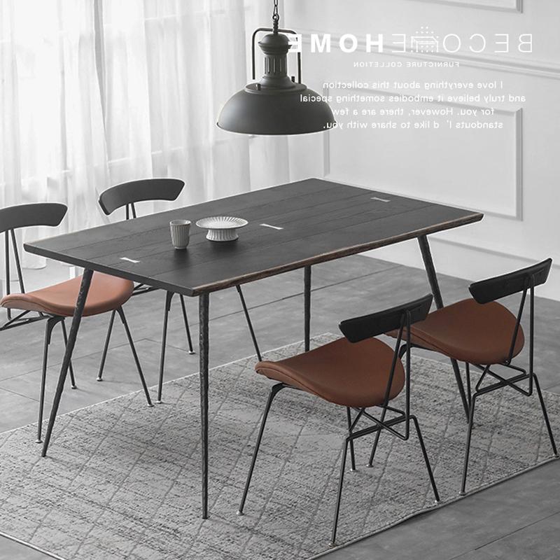 北欧实木餐桌简约现代工业风复古表情家具自然边铁艺长凳桌椅组合