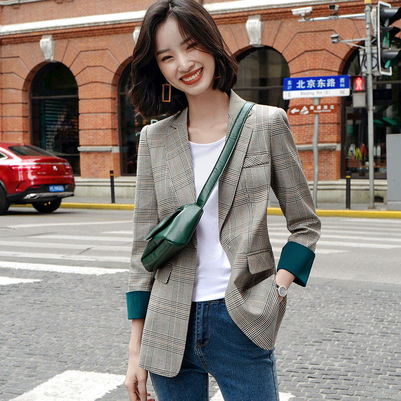 Plaid suit, Outerwear, women's spring 2020, new Korean version, fit, retro Hong Kong style, small suit, women's British style leisure