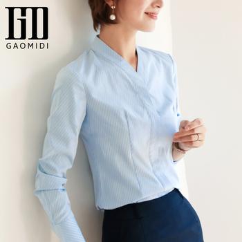 蓝色条纹女2020新款v领面试衬衫