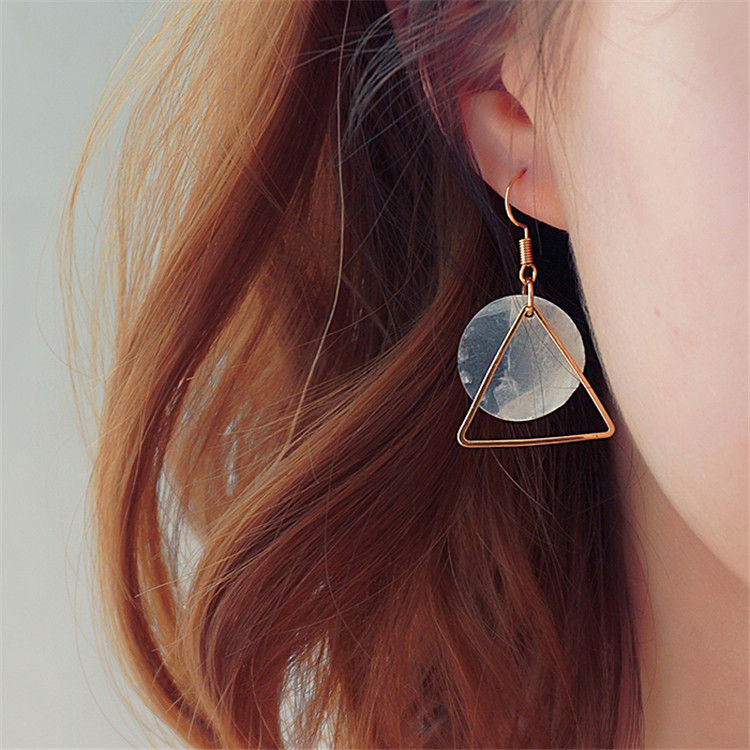Simple stylism European and American simple hollow out geometry triangle round transparent shell earrings earrings female Earrings