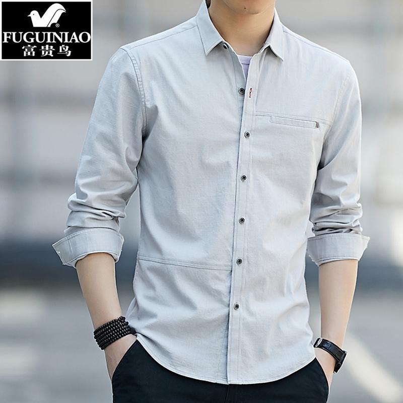 富贵鸟白衬衫外套男长袖宽松打底衫89.00元包邮