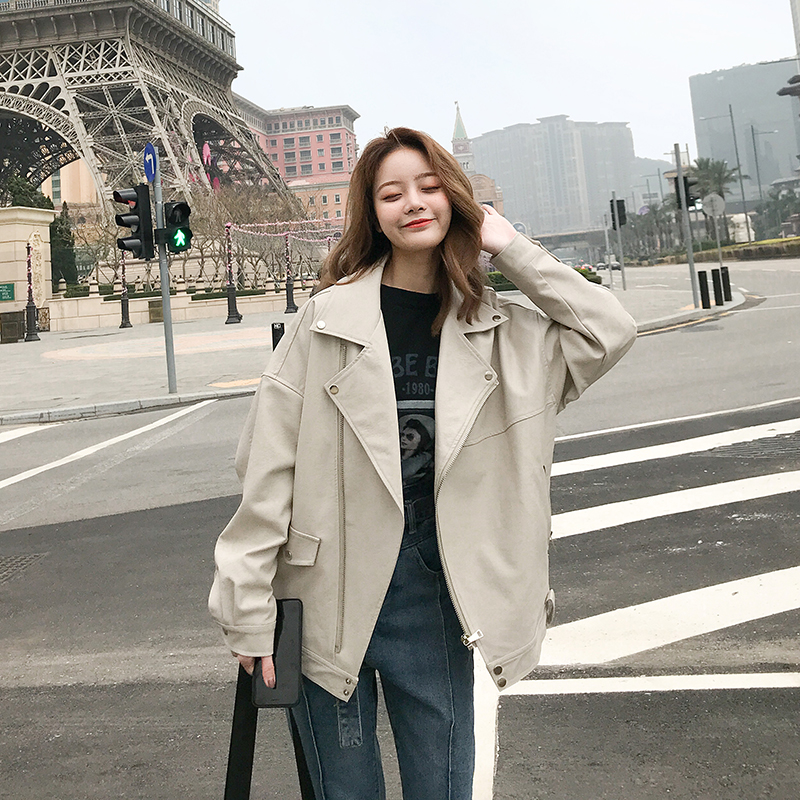 2021 spring and autumn new chic locomotive PU leather jacket womens Korean loose leisure long sleeve short leather jacket