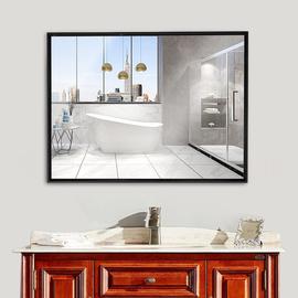 卫生间镜子铝合金带框浴室镜简约现代贴墙壁挂式厕所洗手间化妆镜