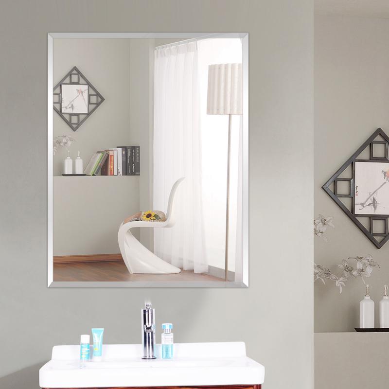 11-08新券欧式卫生间镜子免打孔浴室镜子卫浴镜粘贴壁挂镜厕所化妆镜装饰镜