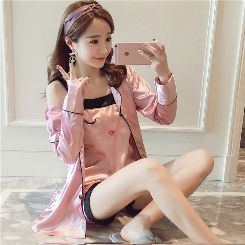 Korean version of spring and summer long-sleeved silk pajamas female summer sexy nightgown female silk sling ice silk three-piece fitted pajamas