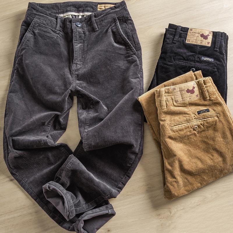 秋冬重磅厚款保暖男士修身直筒灯芯绒休闲裤男潮纯棉条绒工装裤子