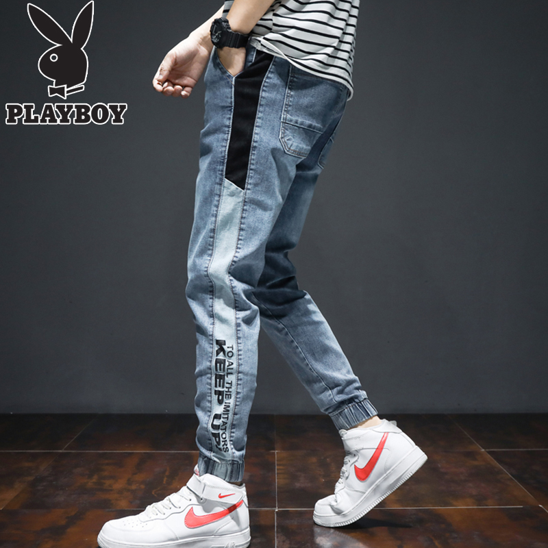 Playboy nine-point jeans men's summer self-cultivation feet Korean version of the trend of casual spring and autumn men's pants tide brand