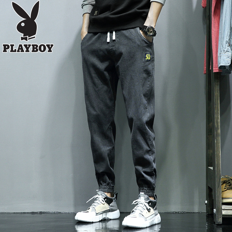 Playboy overalls jeans men's trendy brand harem pants trousers spring and autumn 2020 loose casual long pants