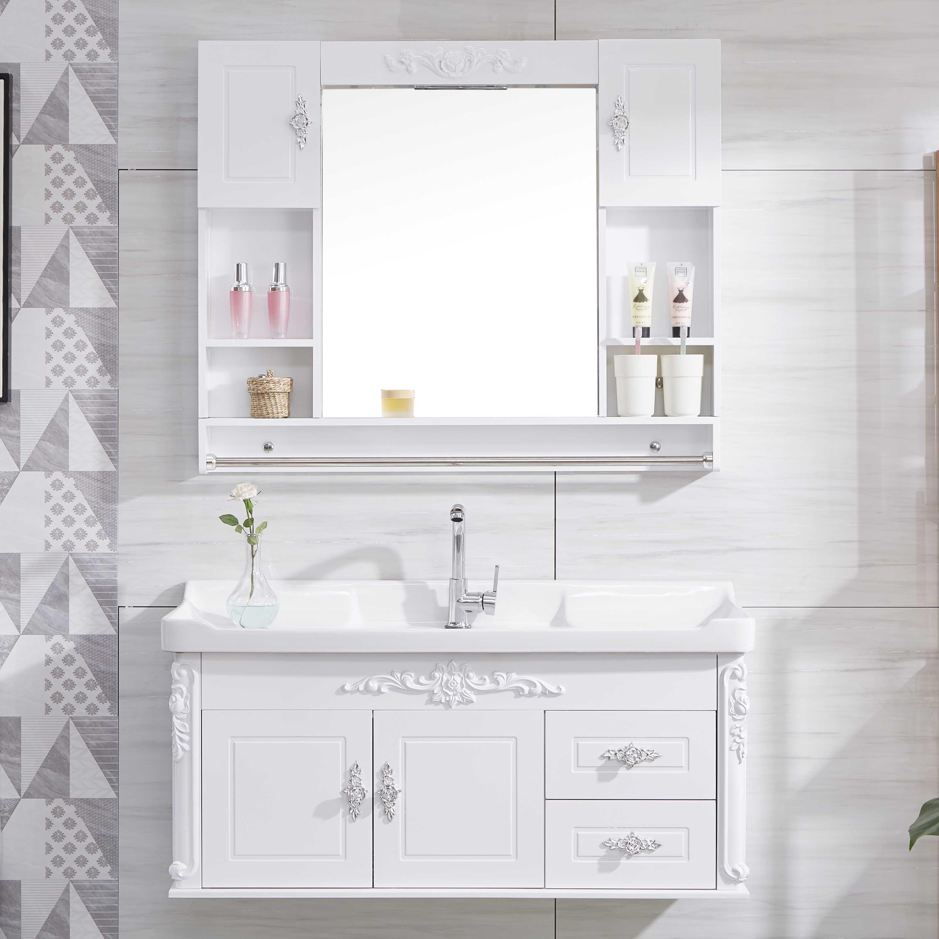 简约PVC洗脸盆柜欧式浴室柜 卫生间洗漱台洗手盆小户型浴室柜镜柜