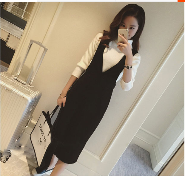 Fall / winter 2019 new dress womens black V-neck split back skirt medium length Hip Bag slim dress fashion