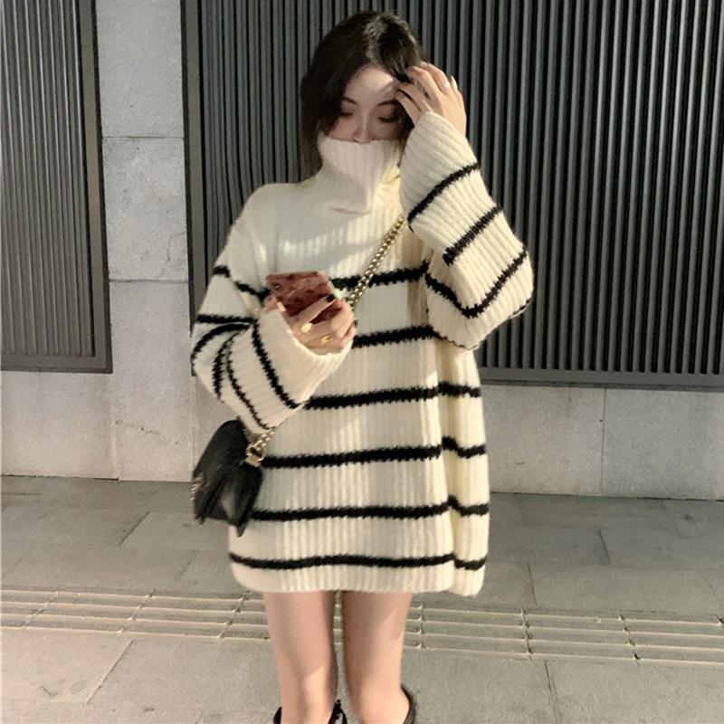 BZA 慵懒风黑白条纹撞色宽松中长款高领长袖毛衣女秋冬季2020新款