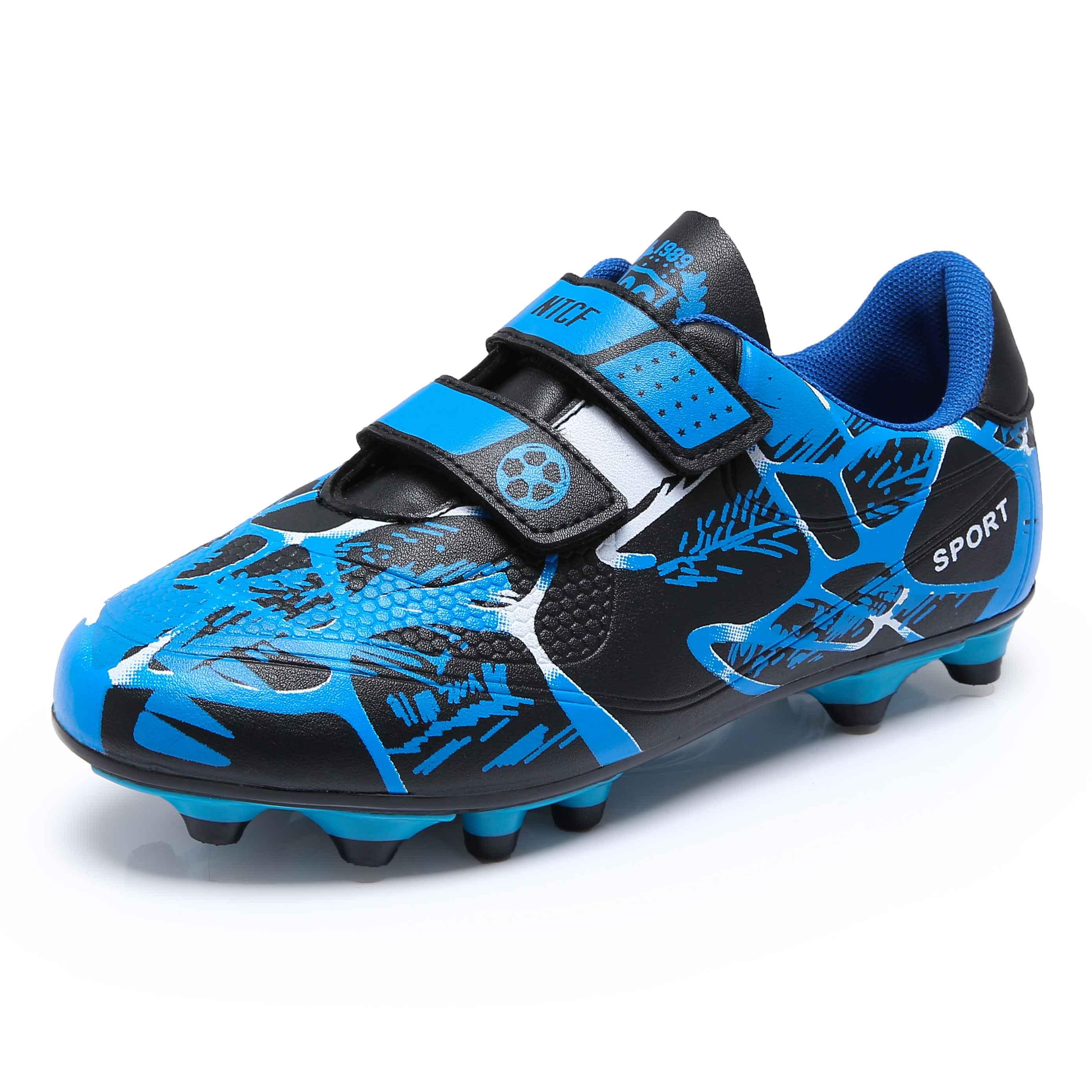 儿童足球鞋魔术贴球鞋皮足碎钉tf长钉AG男童女童青少训练鞋小学生