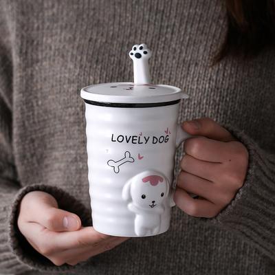创意简约狗狗马克陶瓷杯卡通带勺带盖早餐情侣牛奶可爱水杯咖啡杯