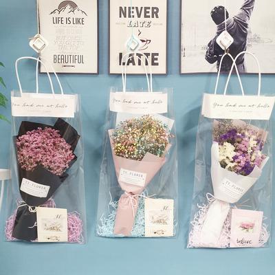 创意干花花束北欧手提袋天然勿忘我满天星真花客厅装饰摆件小墙饰
