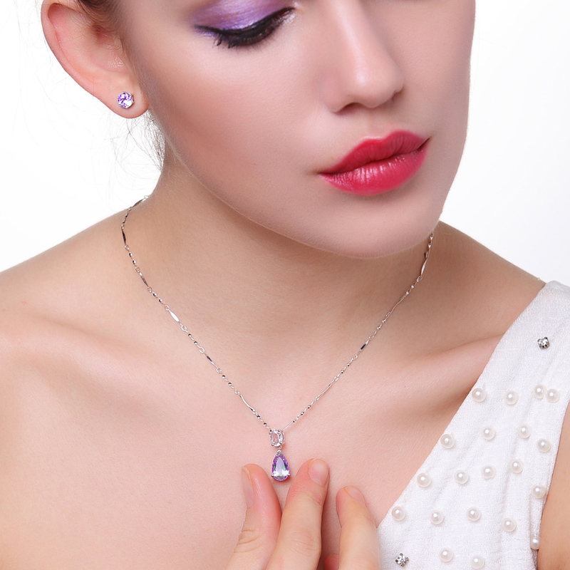 BIRTHDAY GIFT PENDANT 925 silver Topaz Necklace water drop Purple Silver Pendant female clavicle chain jewelry package mail Christmas