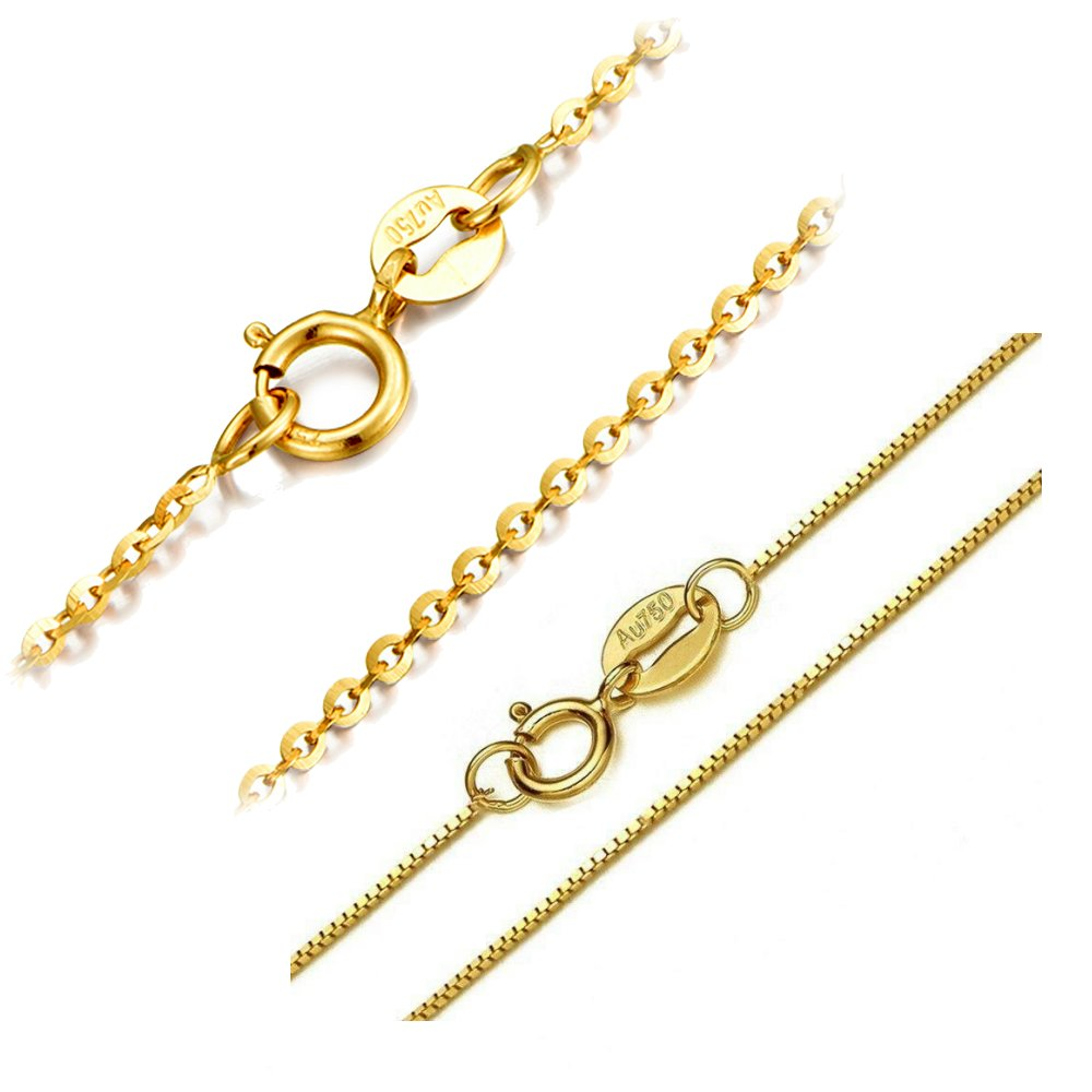 18K gold necklace bead chain O-shaped Chopin chain long womens lengthening 50cm55cm60cm65cm sweater chain