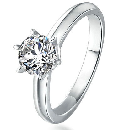 Mosangshi 925 Silver Ring Wedding Ring White Gold Diamond Ring female classic six claw 18K Gold live stock