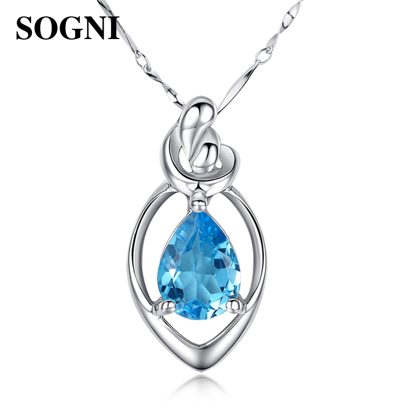 Blue Topaz Sterling Silver Necklace Pendant ladys clavicle chain birthday Amethyst package send gift goddess day