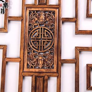 东阳木雕中式仿古实木雕刻榆木镂空圆形榫卯结构花窗花格通花挂件