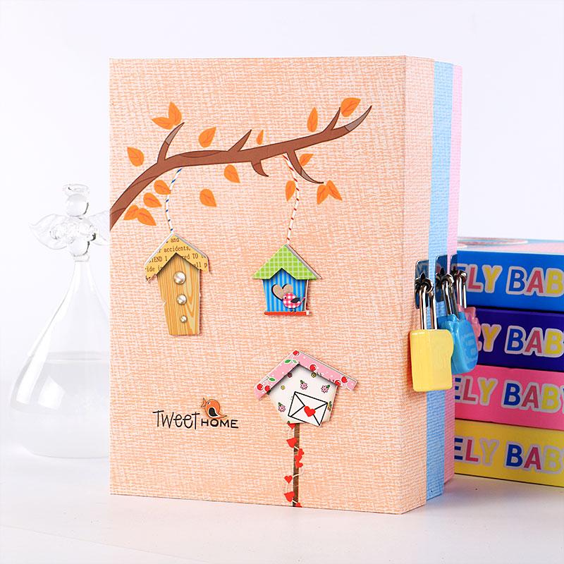 带锁日记本子韩国精品文具清新可爱小学生用手帐密码锁本厚笔记本