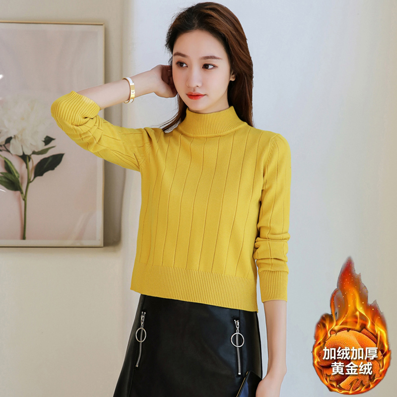 Sweater for women in autumn and winter wear short bottomed small loose Pullover Top with half high collar and plush thickened sweater