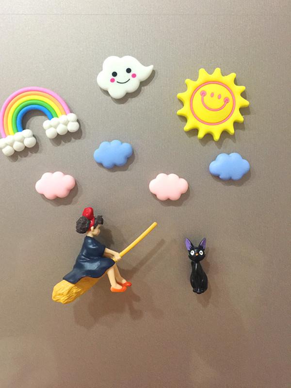 Cartoon cute little witch in a hurry Miyazakis Japanese refrigerator