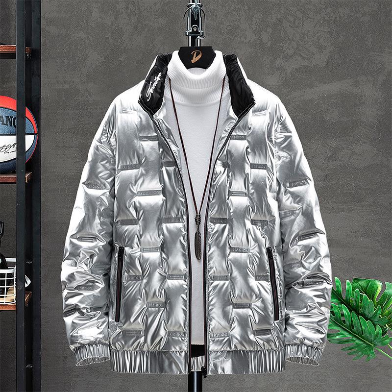 今年超火冬天银色羽绒服男土2020加大号白鸭绒外套寒冬厚亮色棉衣
