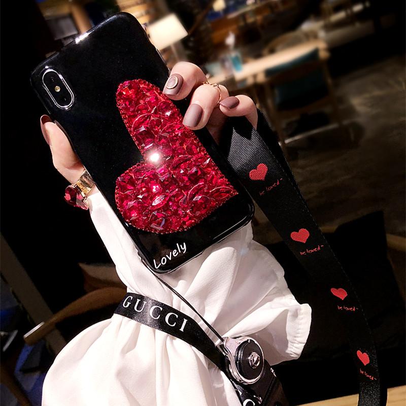 新款iphoneX手机壳红色宝石爱心苹果7/8plus硅胶套全包软6s女挂绳
