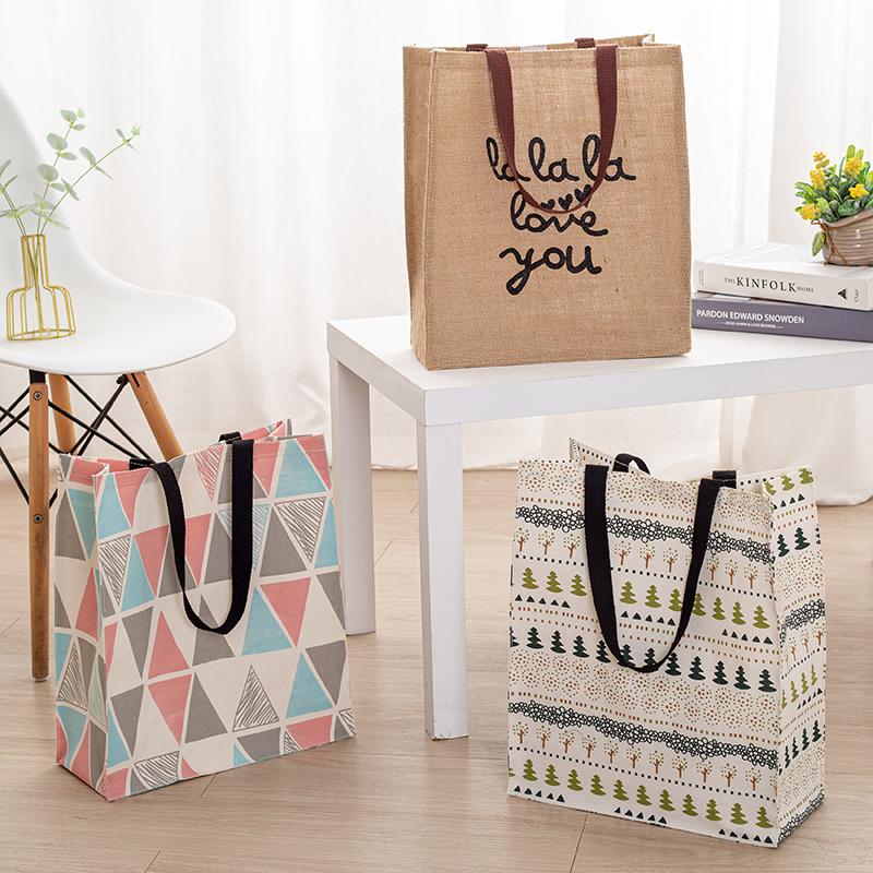 棉麻帆布手拎折叠斜跨补习女饭盒袋