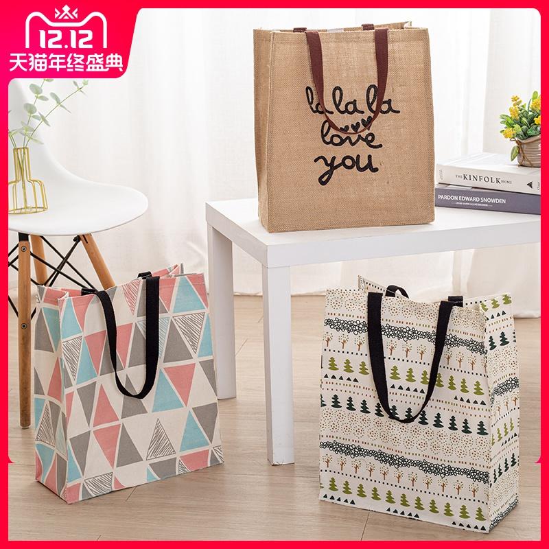 棉麻帆布手拎折叠便当包饭盒袋斜跨补习书袋便携环保购物手提袋女