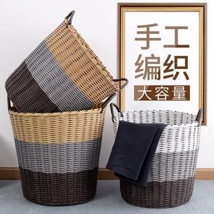 家用塑料藤编织简约脏衣篮放装脏衣服的篮子洗衣篮玩具衣物收纳筐