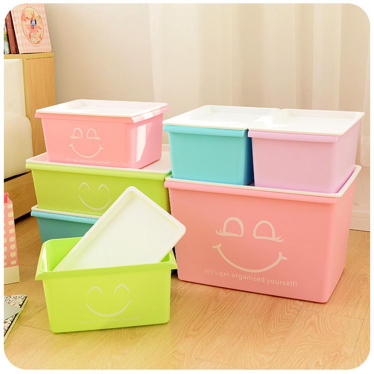 笑臉收納箱塑料整理箱大號有蓋儲物箱玩具內衣收納盒雜物床底箱子