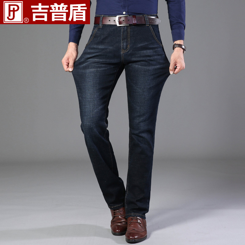 Jeep shield mens jeans elastic slim straight tube middle waist business casual warm long pants Plush thickened