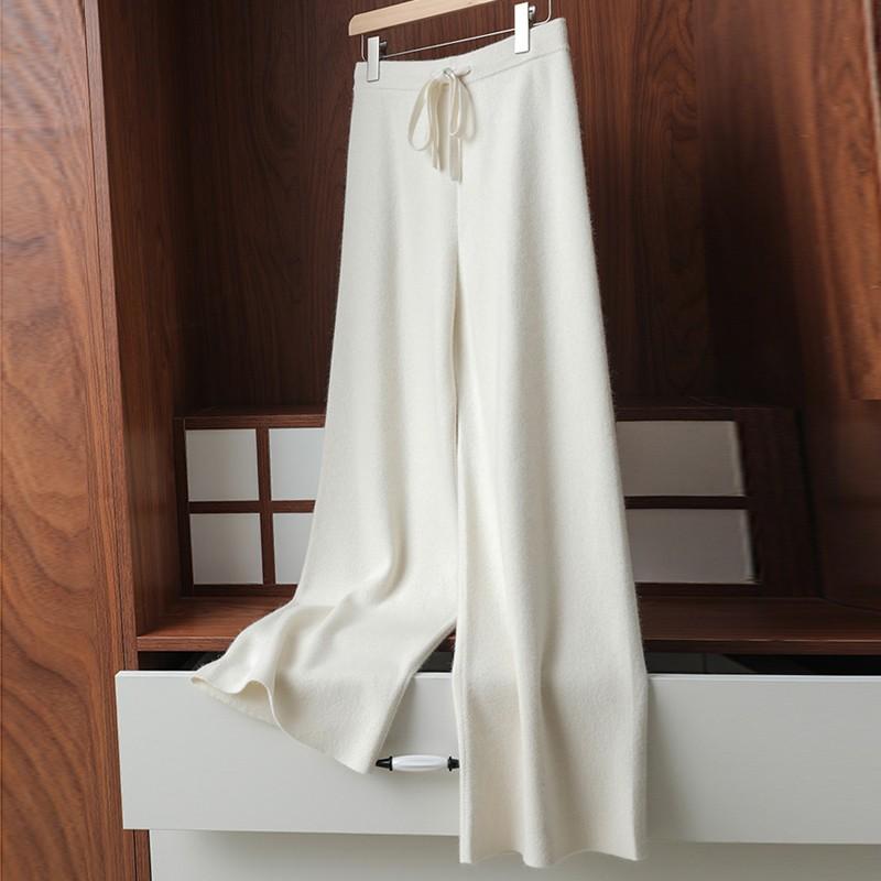 秋冬加厚羊绒阔腿裤女宽松高腰云朵裤多色羊毛裤针织长裤直筒裤