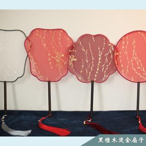 吉善扇子中国风芒种团扇烫金宫扇古典古风加长圆扇舞蹈扇摄影扇子