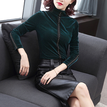 High neck gold velvet bottoming blouse women's new slim fit in autumn and winter 2019 with thickened Plush foreign air top T-shirt women
