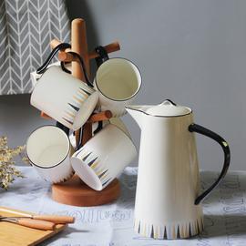 简约北欧水具套装骨瓷杯具冷水壶一套水杯欧式家用客厅茶杯茶壶图片