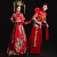 Xiuhe bride's 2019 new wedding dress men's and women's suit and wedding dress Chinese couple's Dragon Phoenix jacket Xiuhe